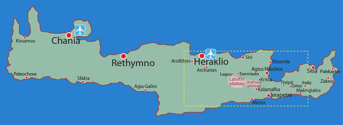 Map location overview: Walking tour EAST CRETE